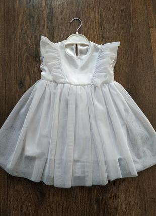 Платье белое 1-3 года, фатин, евросетка, снежинка