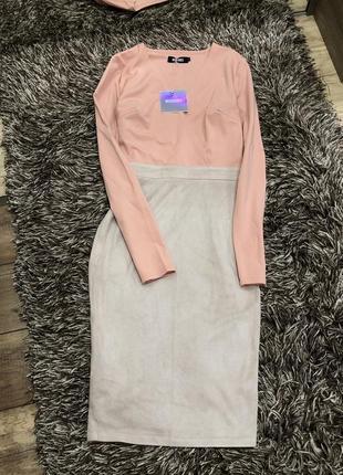 Фирменное миди нюдовое платье missguided