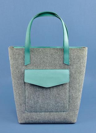 Фетровая женская сумка шоппер d.d. с кожаными бирюзовыми вставками