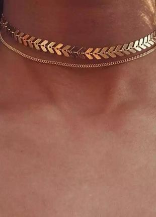 Ожерелье колье чокер многослойная цепочка золотистая ланцюжок