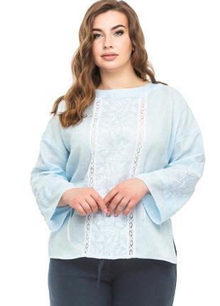 Блуза жіноча елен (льон небесно-блакитний)