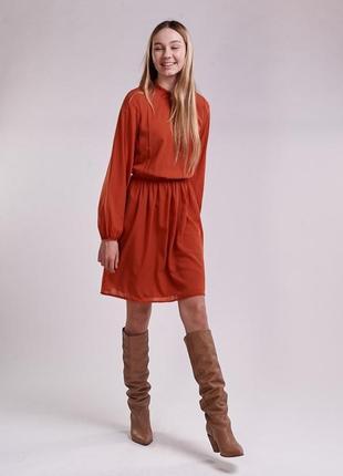 Платье из шифона с длинными рукавами терракотовое