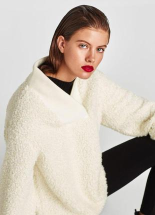 Свитшот реглан худи свитер меховый zara размер м