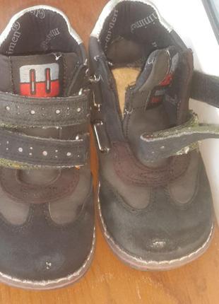 Демисезонные ботинки  утепленные с двумя липучками для девочки minimen 23р.5
