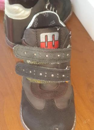 Демисезонные ботинки  утепленные с двумя липучками для девочки minimen 23р.4