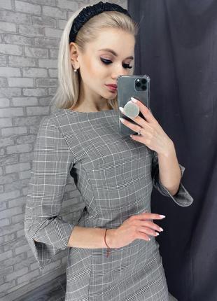 Платье новое h&m серое клетчатое 34, xs в клетку офисное повседневное деловое с биркой