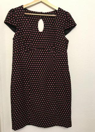 Черное в розовый горошек платье next