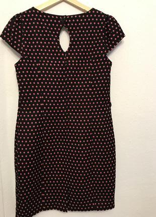 Черное в розовый горошек платье next2 фото