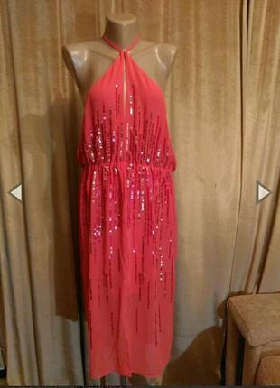 Шифоновое, коралловое платье с пайетками размер 14-16