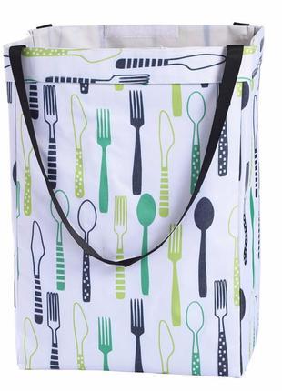 Корзина-сумка для белья, игрушек, белая. столовые приборы.