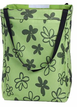 Корзина-сумка для белья, игрушек, зеленая. нарисованные цветы.