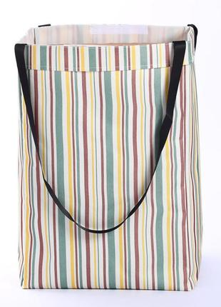 Корзина-сумка для белья, игрушек, белая. стильная полосочка.