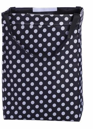 Корзина-сумка для белья, игрушек, черная. белый горох.
