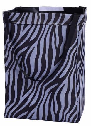 Корзина-сумка для белья, игрушек, черная. зебра.