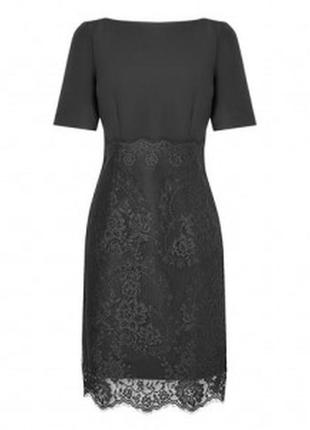 Sale l.k.bennett идеальное лаконичное статусное платье черного цвета с шелком и кружевом. м.38
