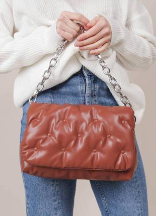 Стёганая сумочка, клатч с мягкой эко-кожи