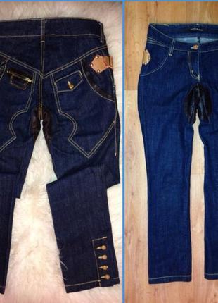 Крутые джинсы с м дорогой брэнд вставки кожа змейки цепи пуговицы декор