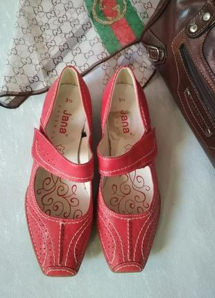 Туфли мокасины кожа jana natural германия