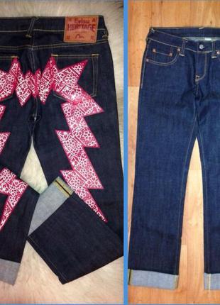 Крутые с м стильные джинсы  evisu брэнд стиль r&b с накаткой принт молния рисунок