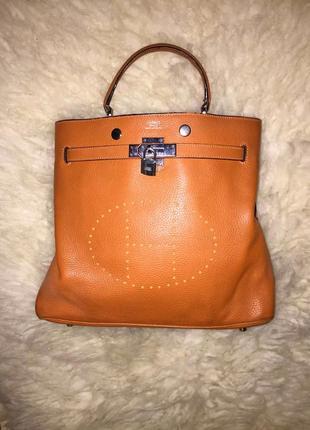Рыжая оранжевая кожаная винтажная женская сумка  hermès