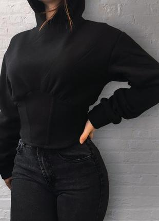 Новое чёрное худи корсет