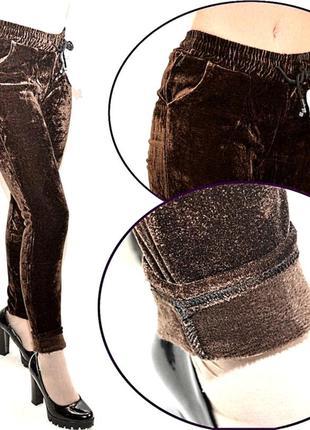 Термо-велюровые лосины высокая посадка,с карманами,пояс на резинке и кулиске