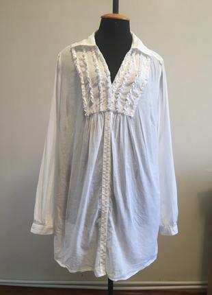 Натуральна бавовняна сорочка рубашка длинная хлопковая