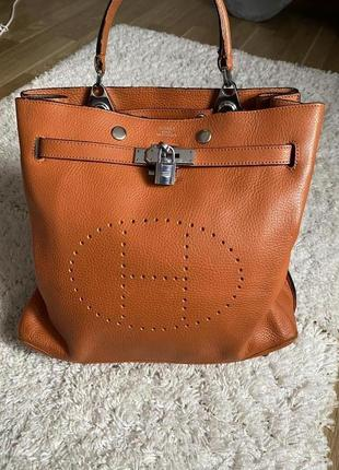 Женская рыжая кожаная сумка hermès
