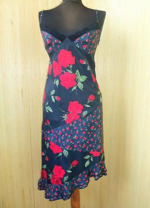Летнее платье сарафан с кружевом   цветочный принт , асиметрия alan manoukian  хs-s
