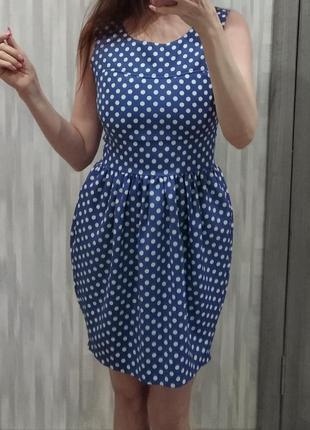 Шикарное синее платье в горох the style london