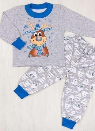 Пижама новогодняя комбинированная начес с рисунком