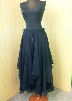 Оригинальная чёрная длинная юбка с фатином  с шелковой подкладкой