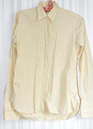 Стильная светло-желтая рубашка на запонках2 фото