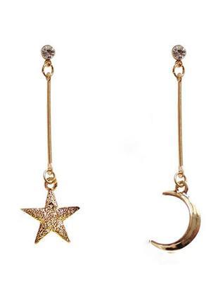 Серьги звезда и луна - модный тренд