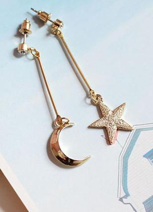 Серьги звезда и луна - модный тренд3 фото