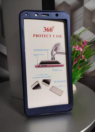 Пластиковый чехол и стекло для xiaomi redmi 7a синий глянец