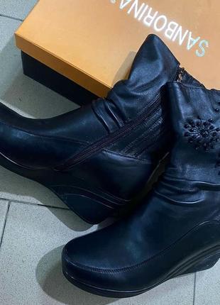 Зимние ботинки из пресскожи