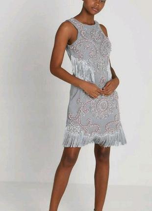 Платье с бахромой и вышывкой с камней starry eyed
