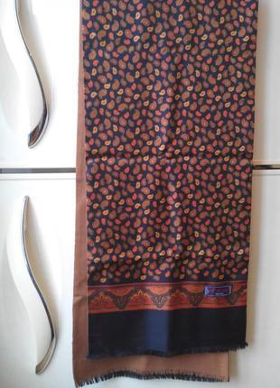 Люксовый двухсторонний шарф шелк + шерсть  lambswool  от  hemley (германия)