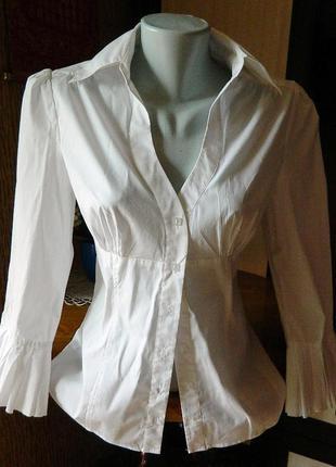 Білосніжна, оригінальна, фірмова офісна блуза - рубашка.
