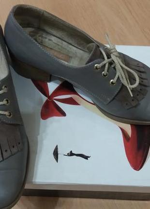 Туфли серые кожа шнурок