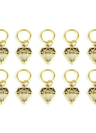 Колечка з підвісками золоті, кольца, колечки