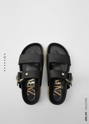 Кожаные шлёпанцы сандали zara