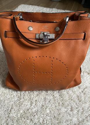Рыжая женская кожаная сумка hermès