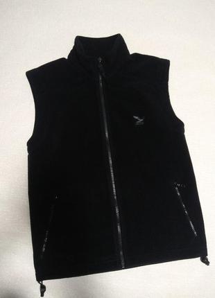 Флисовая черная  жилетка унисекс,жилет флис/флісова жилетка,безрукавка