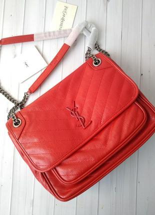 Сумка красная кожаная женская в стиле yves saint laurent ❣️хит продаж
