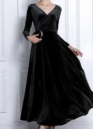 Велюровое платье макси