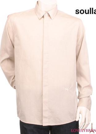 Soulland дания мужская рубашка р. м/46-48 100% хлопок длинный рукав