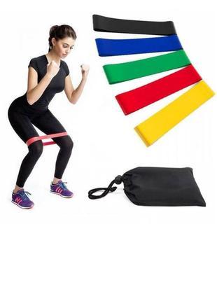 Резинки loop bands для фитнеса.набор- 5 шт с чехлом