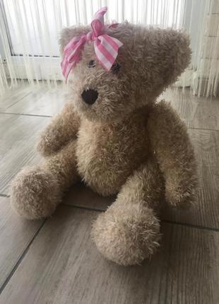 Коллекционный медведь плюшевый мишка с бантом anna club